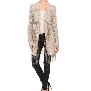 OnTwelfth Faux Suede Fringe Wrap Sweater